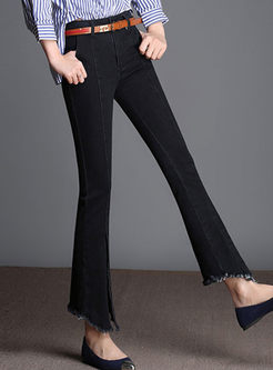 Solid Color Slit Rough Selvedge Flare Pants
