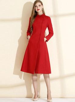 Red Long Sleeve Split A Line Dress