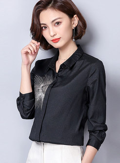 Embroidered Single-breasted Chiffon Blouse