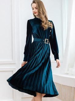 Long Sleeve Velvet Pleated Skater Dress