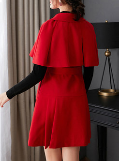 Notched Poncho Sleeve A Line Coat Dress