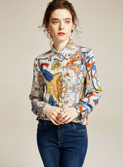 Lapel Print Long Sleeve Silk Blouse