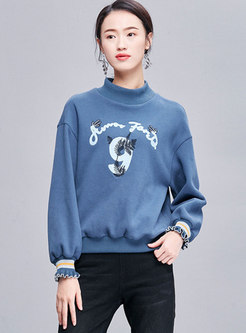 Pullover Embroidered Loose Sweatshirt