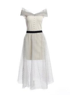 Off Shoulder Polka Dot Mesh Suit Dress