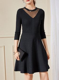 Black Lace Backless A Line Sweater Dress