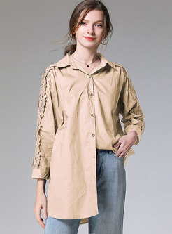 Solid Color Openwork Loose Blouse