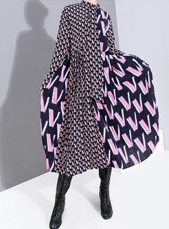 Mock Neck Letter Print Skater Dress