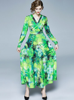 V-neck Long Sleeve Print Beach Maxi Dress
