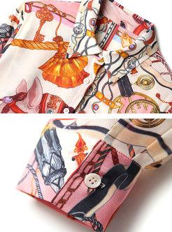 Long Sleeve Print Silk Loose Blouse