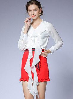 V-neck Falbala Bodycon Mini Suit Dress