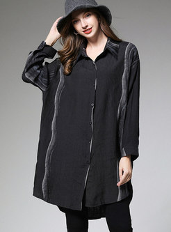 Plus Size Striped Loose Long Blouse