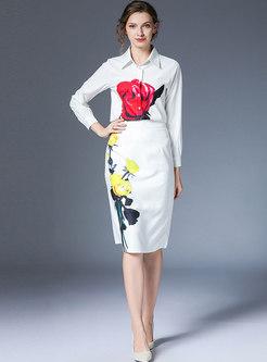 White Lapel Print Knee-length Skirt Suits