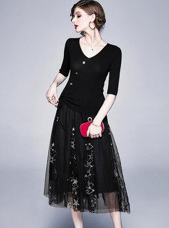 Black V-neck Mesh A Line Suit Dress