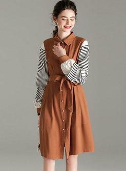 Print Long Sleeve Patchwork Shirt Dress
