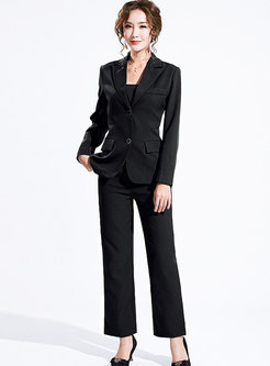 Solid Color Notched Slim Office Pant Suits