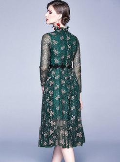 Ruffed Neck Openwork A Line Lace Dress