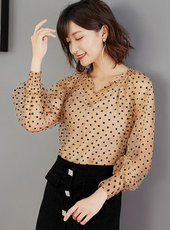 V-neck Polka Dot Pullover Blouse With Camisole
