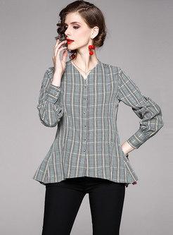 Plaid Long Sleeve Asymmetric Blouse