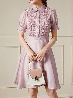 Pink Puff Sleeve Ruffle High Waisted Skater Dress