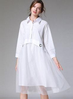 Solid Color Mesh Patchwork Plus Size Dress