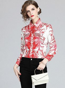 Lapel Print Single-breasted Blouse
