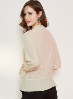 Solid Color Pullover Silk Blouse