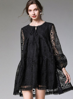 Plus Size Openwork Shift Dress