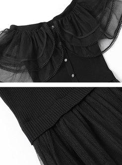 Off Shoulder Sweater Patchwork Mesh Dress