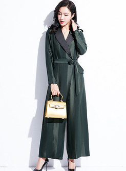 Color-blocked Notched Palazzo Jumpsuit