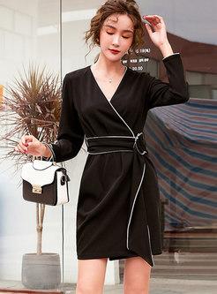 V-neck Bodycon Mini Wrap Dress