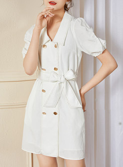 White Puff Sleeve Bodycon Mini Dress