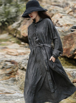 Lapel Long Sleeve Belted Corduroy Midi Dress