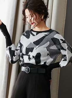 Print Pullover Bat Sleeve Sweater