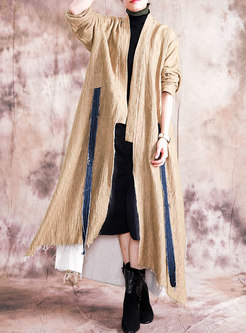 V-neck Plus Size Split Long Trench Coat