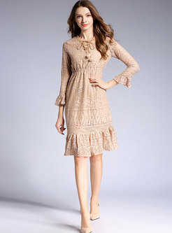 Flare Sleeve Lace Peplum Dress