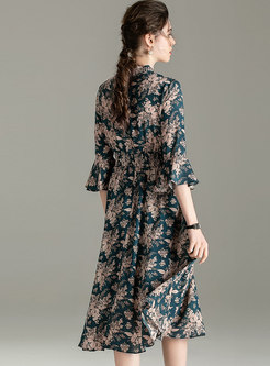 Mock Neck Flare Sleeve Floral Chiffon Dress