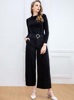 Crew Neck Pullover Slim Palazzo Pant Suits