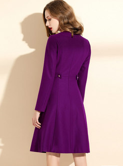 Solid Color Long Sleeve A Line Dress