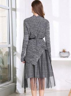 Turtleneck Asymmetric Sweater Mesh Suit Dress