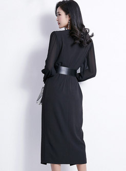 Notched Long Sleeve Belted Dress With Sling Dress