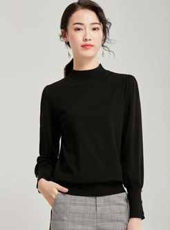 Half Turtleneck Pullover Loose Sweater
