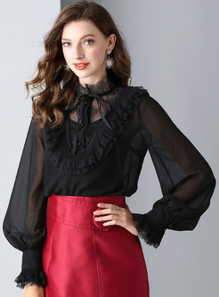 Vintage Hollow Out Falbala Silk Casual Blouse