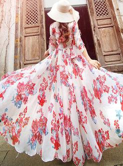 V-neck Floral Big Hem Beach Maxi Dress