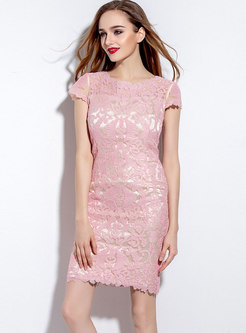 Mesh Embroidered Patchwork Bodycon Dress