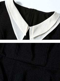Color-blocked Slim Slit Bodycon Dress