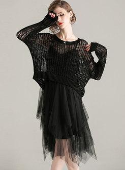 Pullover Openwork Mesh Patchwork Suit Dress