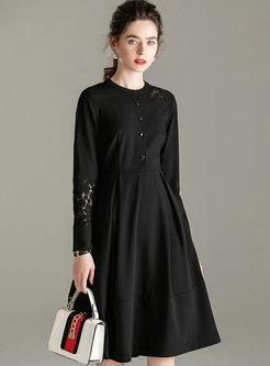Long Sleeve Lace Patchwork A Line Dress