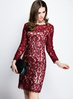 Embroidered Mesh Openwork Cocktail Dress