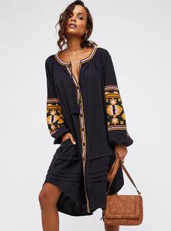 V-neck Long Sleeve Embroidered Shift Dress
