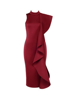 Standing Collar Falbala Sleeveless Sheath Dress